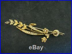 Antique Large Natural Seed Pearl & Gold Floral Bridal Brooch Pin