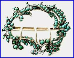 Antique Large Silver / Gold Gilded Turquoise Buckle Brooch Pin