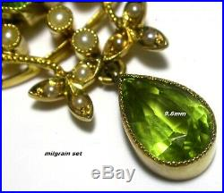 Antique Lavalier Brooch Pin / Pendant 18ct Gold Peridot & Seed Pearls Edwardian