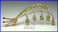 Antique Lily of the Valley Russian Demantoid Brooch Pin in 14K Yellow Gold Over