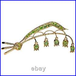Antique Lily of the Valley Russian Demantoid Brooch Pin in 18K Yellow Gold Over
