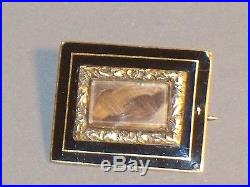 Antique MOURNING HAIR Jewelry BROOCH 10K Gold Enamel Blond Brown Victorian Pin