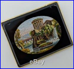 Antique Micro Mosaic Waterfall Gold Brooch Pin Grand Tour Souvenir Jewelry Italy