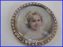 Antique Miniature Portrait Young Girl Brooch Pin 14k Gold High Quality WoW
