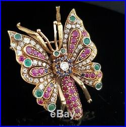 Antique Old Cut Diamond Ruby Emerald Sapphire Butterfly Brooch Pin 18k Gold Gift