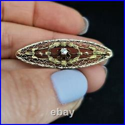 Antique Old European Cut Diamond 14k Multi Tone Gold Brooch Pin Floral Victorian