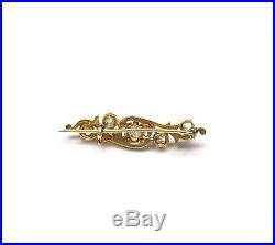 Antique Old Mine Cut Diamond Brooch/Pin 0.68 Carat t. W. 14K Gold