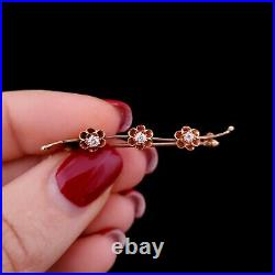 Antique Old Mine Cut Diamonds 14k Yellow Gold Sweetheart Brooch Pin Estate Gift