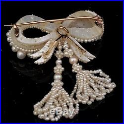 Antique Pearl 10k Yellow Gold Bow Brooch Pin Victorian Box The Little Shop AC NJ
