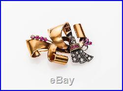 Antique Retro 1940s 1ct Mine Cut Diamond Ruby 14k Gold BOW TIE Pin Brooch BIG