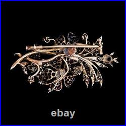 Antique Rubies & Diamond Floral Spray Brooch Pin 18K Gold Over Set with Old Cut