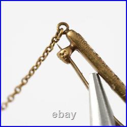 Antique Signed Krementz 14k Gold Art Nouveau Enamel Brooch Pin Vintage Jewelry