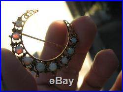 Antique Solid 14k Gold Natural Opal Crescent Moon Brooch/pin/post Earrings Set