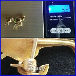 Antique Solid 14k Gold Seed Pearl & Enamel Horse Brooch Pin Ruby Sloan & Co 5.2g