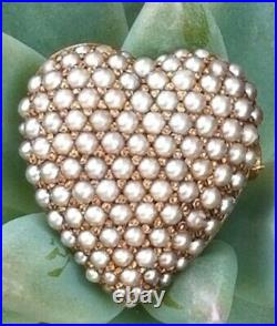 Antique Solid 14k Gold Seed Pearl Heart Pendant Brooch Pin Carter & Gough 3.9g