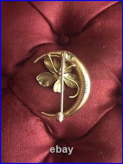 Antique Solid 14k Yellow Gold Crescent Moon And Pearl Enameled Flower Brooch Pin