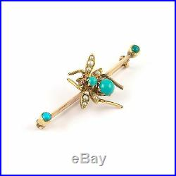 Antique Turquoise Pearl Ruby Pin Brooch 18Ct Gold victorian insect jewellery