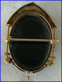 Antique VICTORIAN 14k Yellow Gold LADY CAMEO BLACK GLASS ORNATE BROOCH PIN