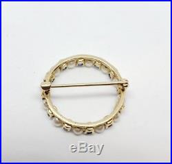 Antique VTG 14K Yellow gold 585 Blue Sapphire  Seed Pearl Circle Pin Brooch
