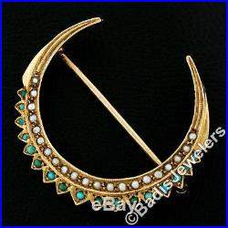 Antique Victorian 10K Gold Natural Turquoise Seed Pearl Crescent Moon Brooch Pin