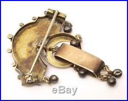 Antique Victorian 10K Gold Taille D'Epargne Black Enamel Brooch Pin Seed Pearl