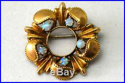 Antique Victorian 10K Solid Gold and Natural Opal Filigree Pin / Brooch