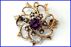 Antique Victorian 10K Solid Rose Gold, Pearl and Pink CZ Pendant/Pin/Brooch