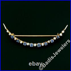 Antique Victorian 10K Yellow Gold 0.94ct Sapphire Seed Pearl Crescent Pin Brooch