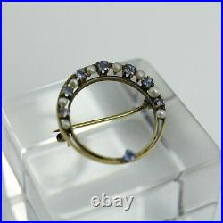 Antique Victorian 10K Yellow Gold Sapphire & Pearl Crescent Moon Brooch Pin