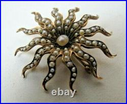 Antique Victorian 10k Gold Natural Seed Pearl Sunburst Pin Brooch Pendant