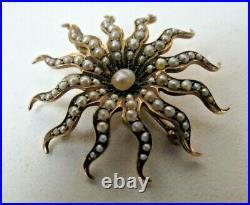 Antique Victorian 10k Gold Natural Seed Pearl Sunburst Pin Brooch Pendant
