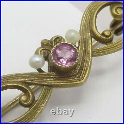 Antique Victorian 10k Yellow Gold Seed Pearl Pink Paste Bar Brooch Pin