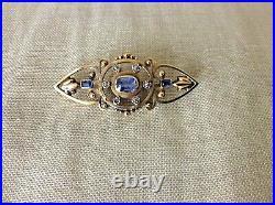 Antique Victorian 14K Gold-Ceylon Sapphire-Diamond Bar Pin Brooch 7.6g