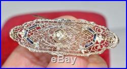 Antique Victorian 14K Gold Diamond & Blue Sapphire Brooch Pin Filigree Flowers