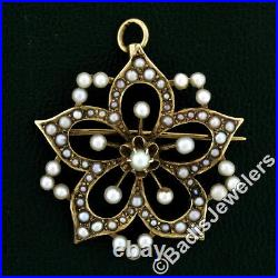 Antique Victorian 14K Gold Seed Pearl Floating Flower Cluster Brooch Pin Pendant