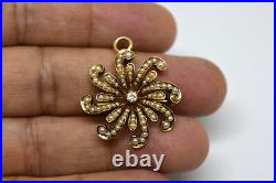 Antique Victorian 14K Solid Gold, Diamond and Pearl Pendant/Pin/Brooch