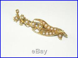 Antique Victorian 14K Solid Gold Seed Pearl Corabell Tulip Flower Brooch Pin