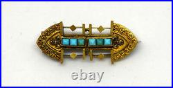 Antique Victorian 14K Solid Gold and Natural Turquoise Filigree Pin/Brooch