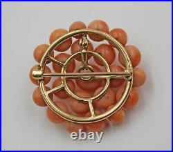 Antique Victorian 14K Yellow Gold Red Coral Circle Button Brooch Pin or Pendant