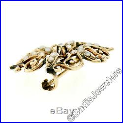 Antique Victorian 14K Yellow Gold Seed Pearl Buttercup Diamond Open Brooch Pin