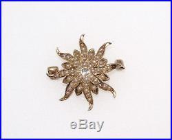 Antique Victorian 14K Yellow Gold Seed Pearl Diamond Sun Burst Pin Brooch