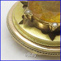 Antique Victorian 14k Bi Gold HEAVY 24gram Natural Amber Sun Brooch Pin Pendant