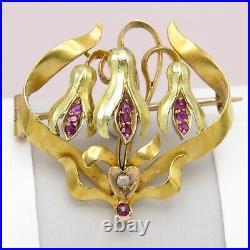 Antique Victorian 14k Bi Gold Ruby Diamond Fuchsia Bell Flower Bow Brooch Pin