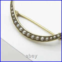 Antique Victorian 14k Gold Crescent Moon Seed Pearl Signed Brooch Pin