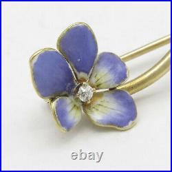 Antique Victorian 14k Gold Diamond Violet Enamel Flower Brooch Pin