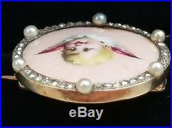 Antique Victorian 14k Gold Enamel Pearl Diamond Angel Cherub Brooch Pin / Cherub