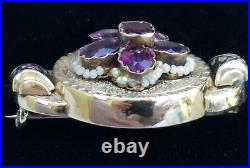 Antique Victorian 14k Gold Garnet Pearl Enamel Brooch Pin-Estate Jewelry 5.6 gm