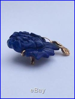 Antique Victorian 14k Gold Lapis Lazuli Rose Flower Carved Pin Brooch
