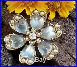 Antique Victorian 14k Gold Moonstone Diamond Pearl Heart Pendant Brooch Pin