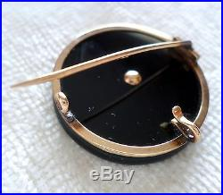 Antique Victorian 14k Gold Onyx & Pearl Mourning Pin Brooch Pendant Circle 585